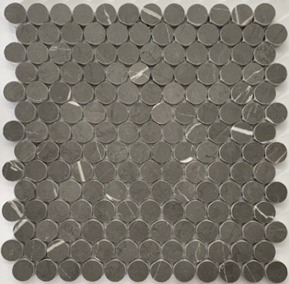 Pietre Grey Penny Round Marble Mosaic Tiles 25mm