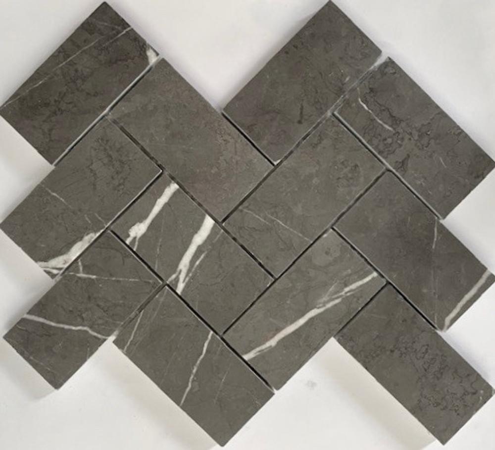 Grey Marble Herringbone Mosaic 100x50mm