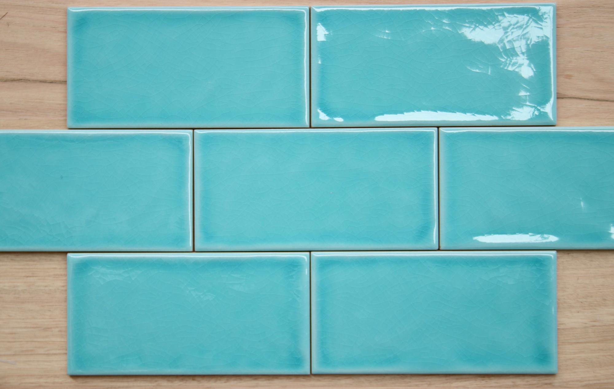 Gloss Wall Tile Joyful Ceramic Tile 100mm x 200mm Aqua