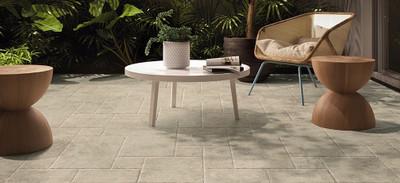 French Pattern Travertine Look Porcelain Floor Tiles