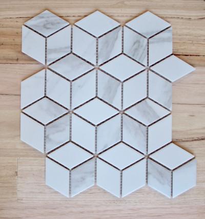 cararra porcelain cube mosaic