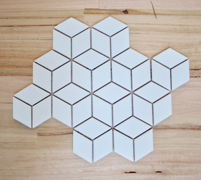Cube Mosaic Tile Matt White