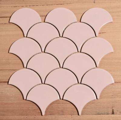 Pale Pink Fan/Fishscale Mosaic