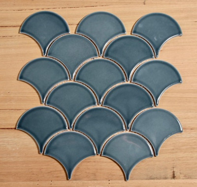 Blue Denim Fan/Fishscale Mosaic