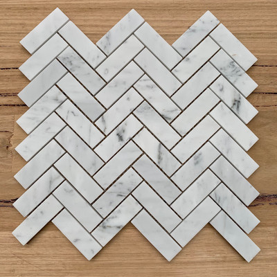 Carrara Marble Herringbone Mosaic 75x25mm