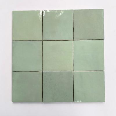 Zellige Pale Green Gloss Wall Tile  10x10cm  - sold per box