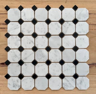 Carrara Octagon and Dot  Marble Mosaic