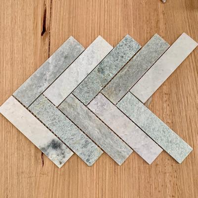 Ming Green Marble Herringbone Tile