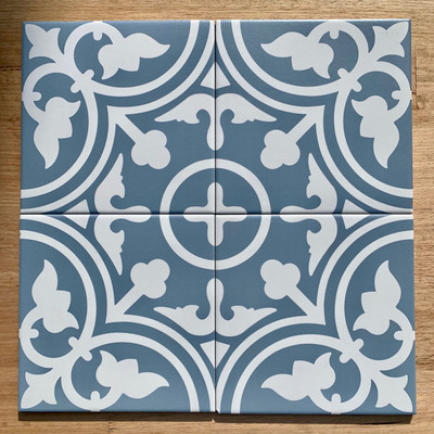 Shadow Wall and Floor Tile  in Baby Blue 200mm