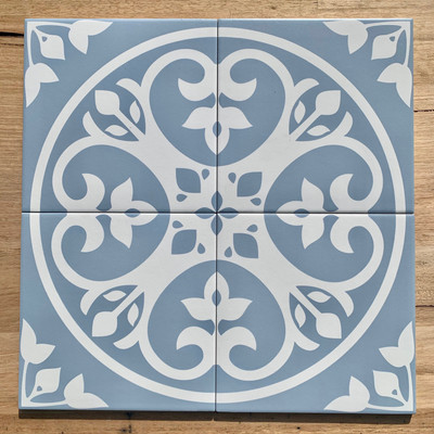 Floral Wall and Floor Tile in Light Blue