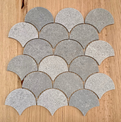 New Grey Marble Fish Scale Mosaic