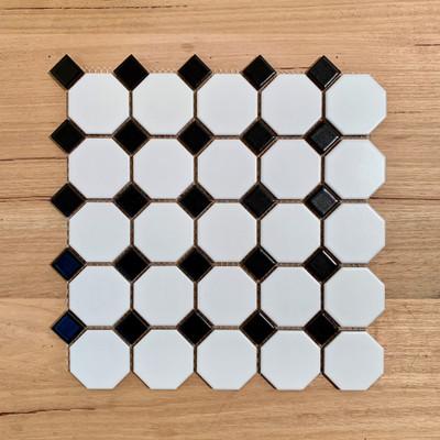Octagon and Dot Mosaic Tile 56mm - Porcelain