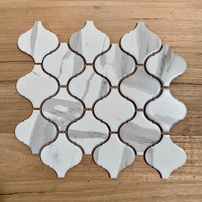 Carrara Look Porcelain Arabesque Mosaic 74x78mm