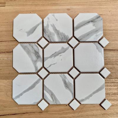 Carrara Look Porcelain Octagon and Dot 95mm