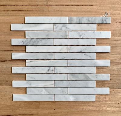 Carrara Marble Brick Mosaic 148x23mm
