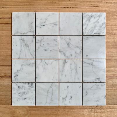 Carrara Marble Square Mosaic 75mm