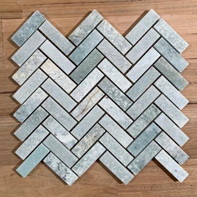 Ming Green Marble Herringbone Mosaic 64x20mm
