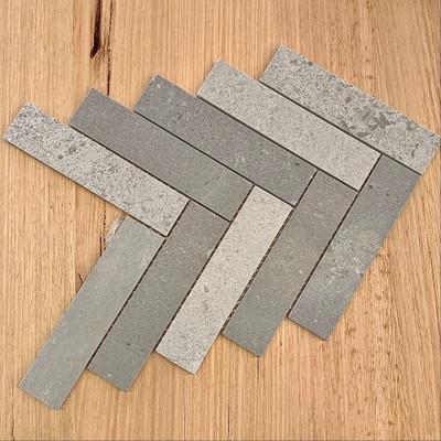 New Grey Marble Herringbone Mosaic