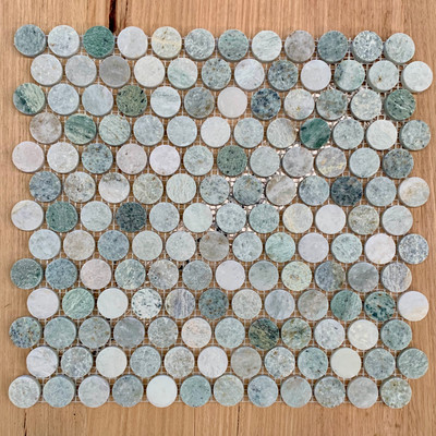 Ming Green Marble Penny Round Mosaic 25mm