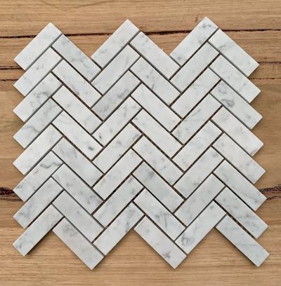 Carrara Marble Herringbone Mosaic 64x20mm