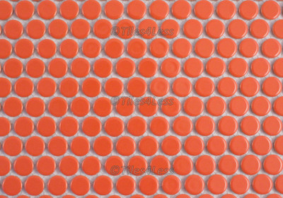 Orange Gloss Porcelain Penny Round Mosaic tile