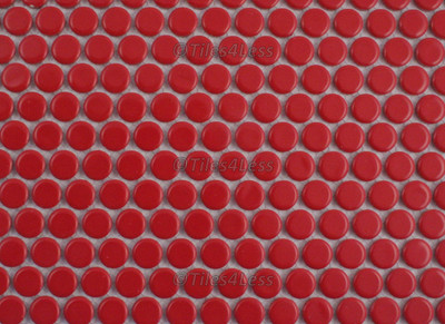 Red Gloss Porcelain Penny Round Mosaic tile