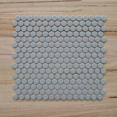 19mm Light Grey Gloss Penny Round Mosaic - 10 SHEETS