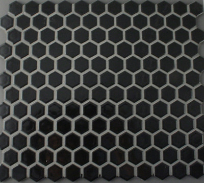 Black Hexagonal Mosaic Tile 23mm - Gloss Finish