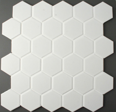 White Hexagonal Mosaic Tile Matt  51mm