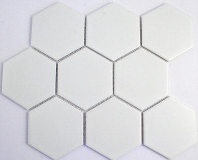 95mm matt white hexagon mosaic