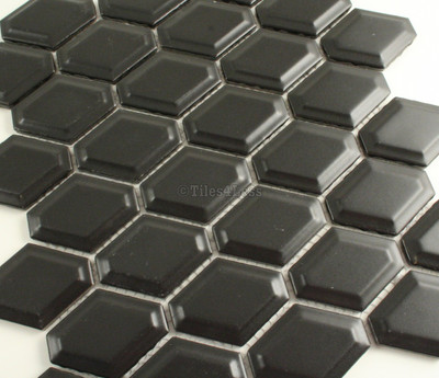 Matt Black External Honeycombe Mosaic Tile 47x60mm