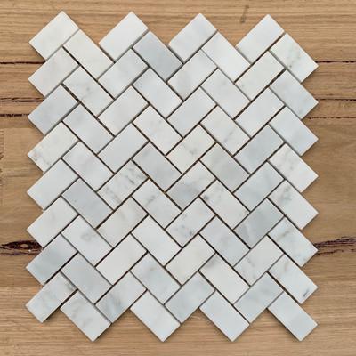 Carrara Herringbone Marble Mosaic 48x23mm -