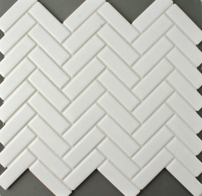 White Herringbone Mosaic 72x22mm - Matt Finish