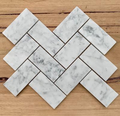Carrara  Herringbone Marble Mosaic 100x50mm