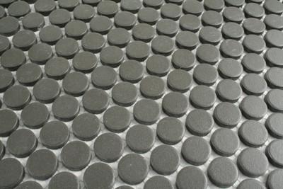Unglazed Matt Black Penny Round Mosaic