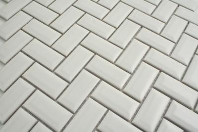 White Matt Bevel Edge Herringbone Mosaic 48x23mm