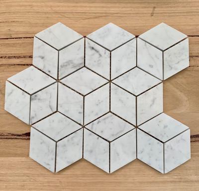 Carrara Marble Cube Mosaic Tile