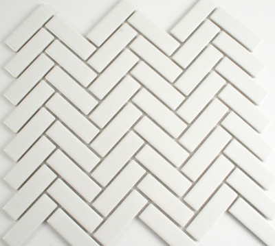 Gloss White Herringbone Mosaic