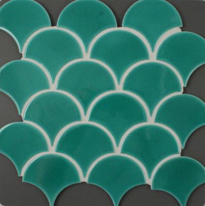 Green Craquele Fan Mosaic