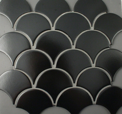 satin/matt black porcelain fan mosaic