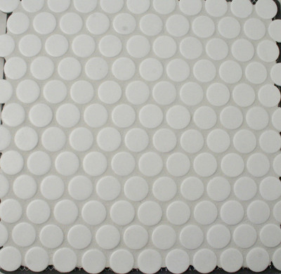 Large White Penny Round Mosaic Tiles 28mm