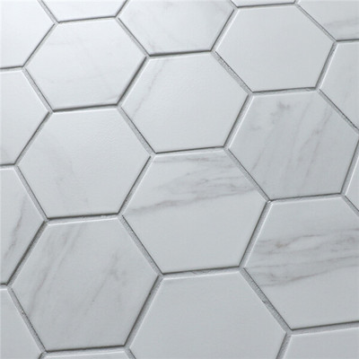 Carrara Porcelain Hexagonal Mosaic 95mm
