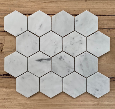 Carrara Marble Hexagonal Mosaic 70mm