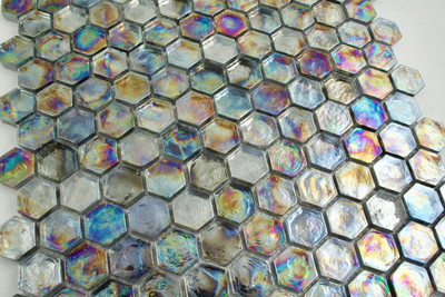 Glass Hexagonal Mosaic - Metallic Rainbow