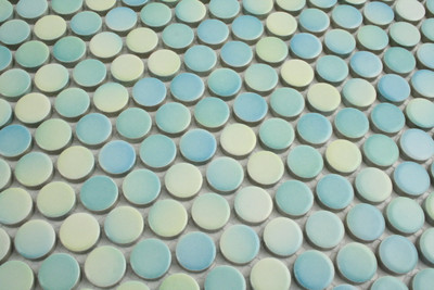 Mixed Colour Aqua Gloss Penny Round Mosaic Tiles - 10 Sheets