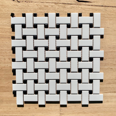 Black and White Porcelain Basketweave Mosaic