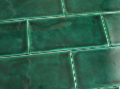 150x75mm Dark Green Craquelle Subway Wall Tile