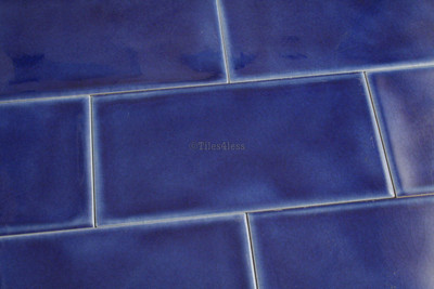150x75mm Dark Blue Craquelle Subway Wall Tile