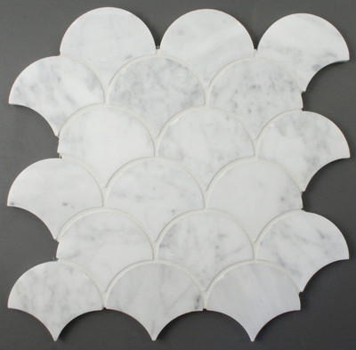 Carrara Marble Fan Shape Mosaic