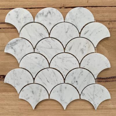Carrara Marble  Fan Mosaic - Honed Finish